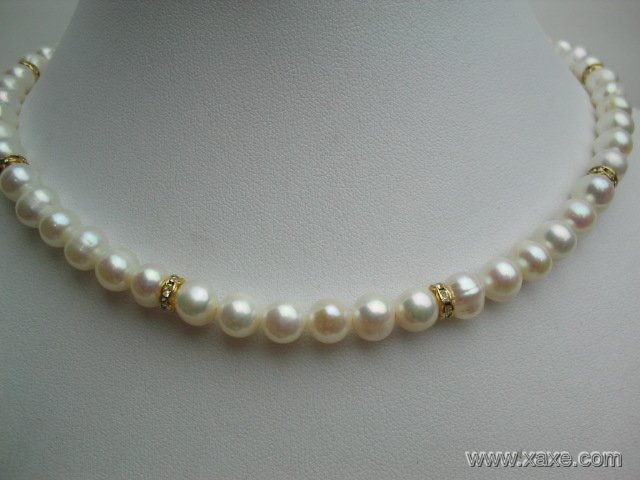 "17"""" 7-8mm white pearl and rinestone necklace"