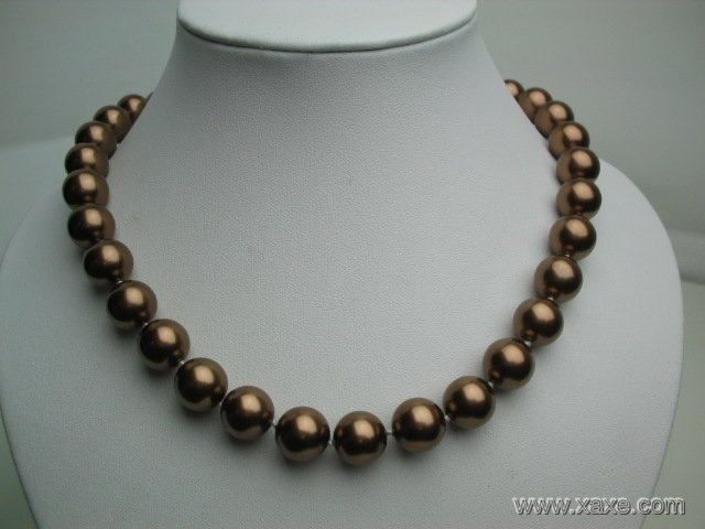 "18"""" big 12mm champagne seashell pearl necklace"