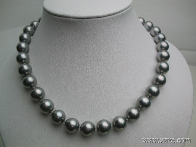 "18"""" big 12mm grey seashell pearl necklace"