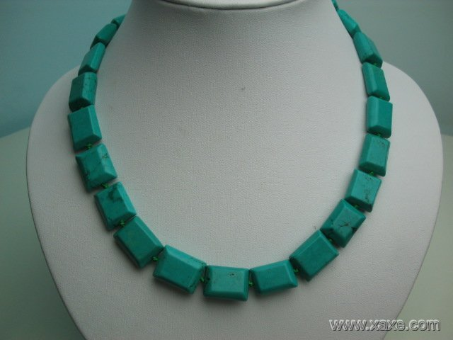 "18"""" 16mm green rectangular turquoise necklace"