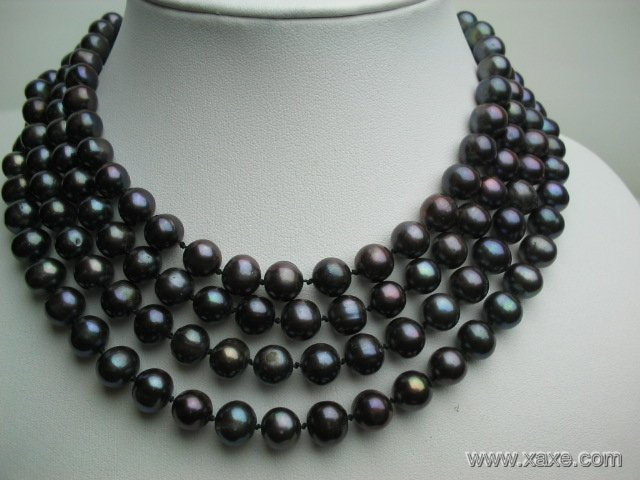 "64"""" long lustrous peacock 8-9mm FW pearl necklace"