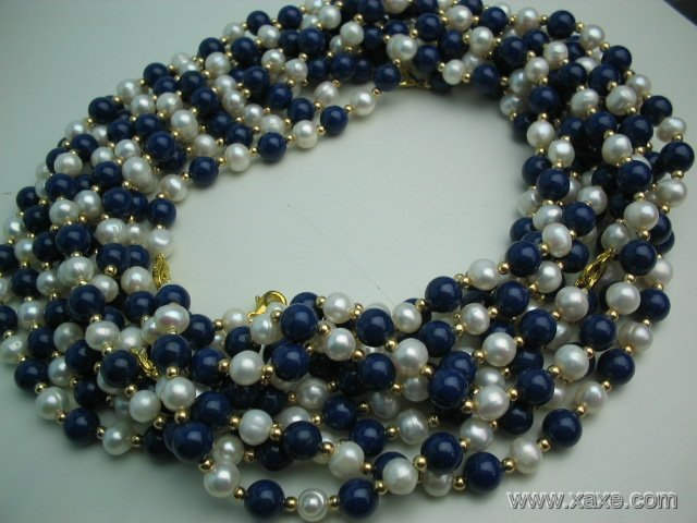 wholesale 10 pcs white pearl blue lapis necklace