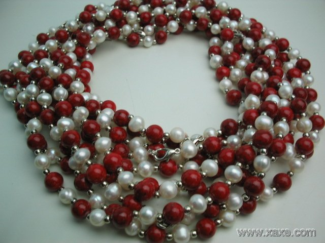 wholesale 10 pcs white pearl red lapis necklace