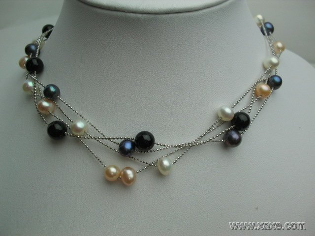wholesale 4 pcs pearl agate necklace 18kgp