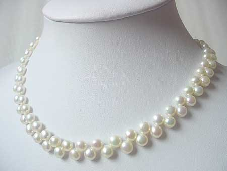 15.5'' 7MM WHITE FW PEARL NECKLACE S925 CLASP