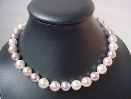 17'' 12MM Multi color seashell pearl Necklace