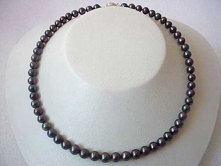 17'' 7-8MM ROUND BLACK FW PEARL NECKLACE S925