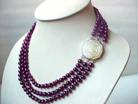 17-19'' 3-ROW MAUVE FW PEARL NECKLACE SHELL