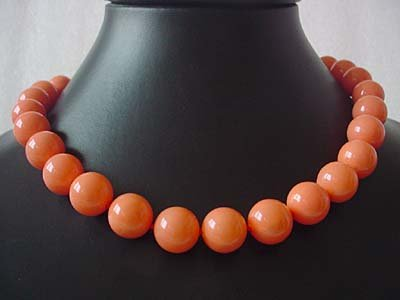 17.5'' 14mm pink coral Necklace