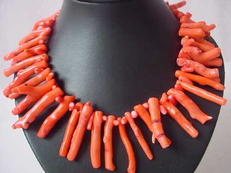 17.5'' PINK CORAL BRANCH NECKLACE