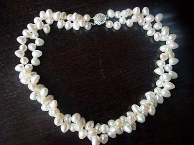 18'' 2-STR white FW pearl 6mmx7mmx9MM NECKLACE