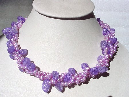 18'' 3-STR PINK FW PEARL POPCORN CRYSTAL NECKLACE