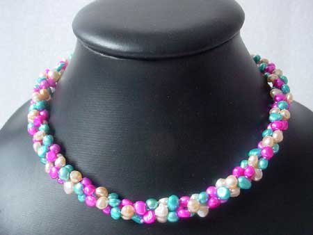 18.5'' 3-STR MULTICOLOR BAROQUE FW PEARL NECKLACE