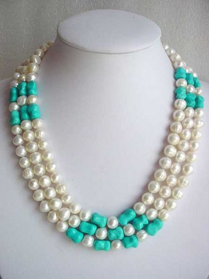 20-22'' 10-11MM FW PEARL TURQUOISE NECKLACE SHELL CLASP
