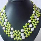 3-ROW EDGE-DRILLED FW PEARL & WHITE COIN PEARL NECKLACE