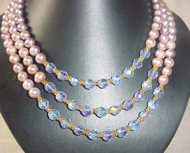 3-STR lavender fw pearl & clear crystal necklace