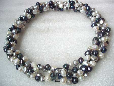 36 2-STR 3-COL BAROQUE FW PEARL NECKLACE S925