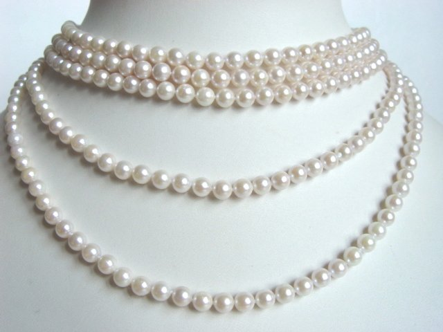5 ROWS AKOYA SALT WATER PEARL CHOKER NECKLACE