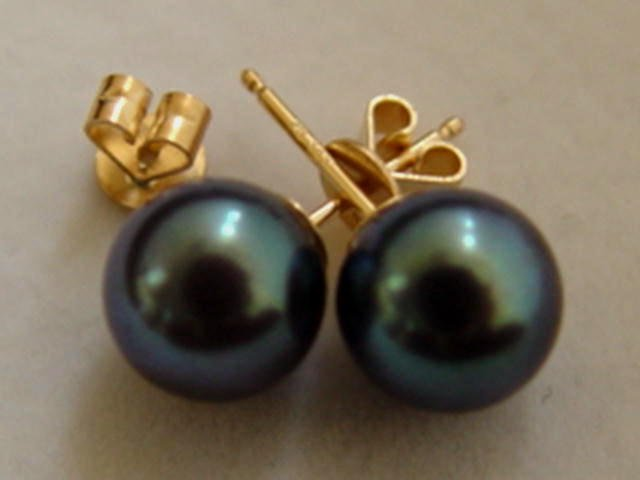 8mm DIAMOND BLUE AKOYA PEARL CLASSIC STUD EARRINGS