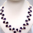 Elegant White Round FW Pearl with Amethyst Necklace