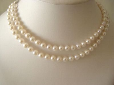 "AAA 32"""" 7 MM CREAM AKOYA OCEAN PEARL NECKLACE"