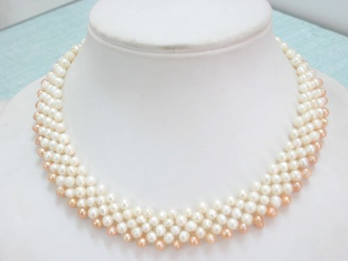 Knit Natural Freshwater Pearl Necklace