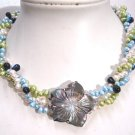 Elegant 3row multicolor FW pearl Necklace seashell flower