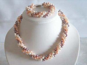 """17.5"""""""" colorful FW pearl Necklace & bracelet set"""