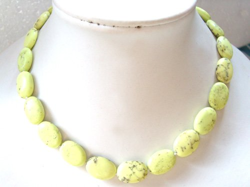 Natural Oval Yellow Turquoise Necklace
