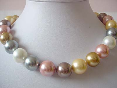 BIG! 16mm multicolor seashell pearl necklace