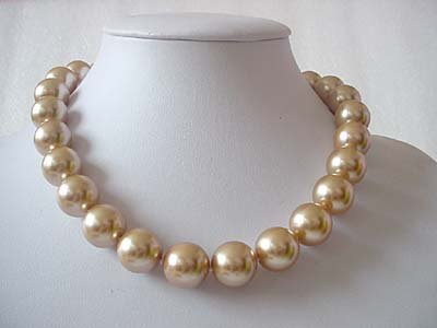 Big! 16mm Light champagne seashell pearl necklace
