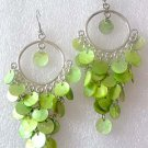 Green shell beads 12mm fashion earrings Chandelier