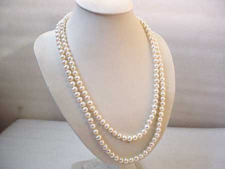 LONG 50'' 7-8MM WHITE FRESHWATER PEARL NECKLACE