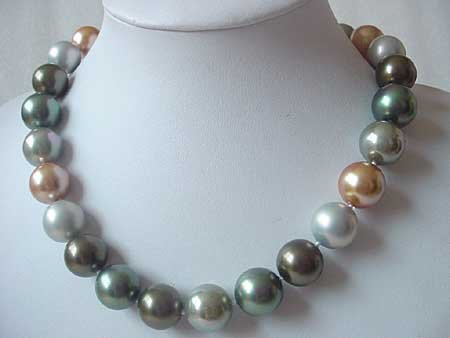 MULTICOLOR 18'' 16MM SEA SHELL PEARL NECKLACE