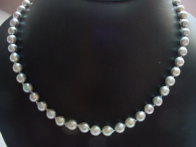Natural silver sea water pearl necklace