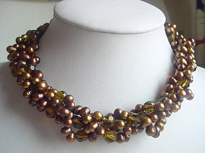 2-STR Brown FW water pearl & Brown crystal Necklace