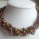 2-STR Brown FW water pearl & Brown crystal Necklace