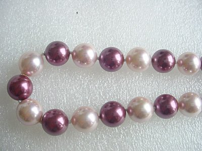pink and purple seashell pearl 12MM necklace