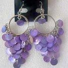 purple shell bead fancy earring Chandelier