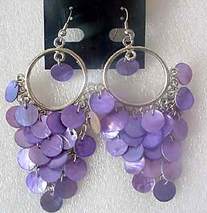 purple shell bead fancy earring Chandelier