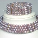 4row freshwater pearl necklace chain bracelet