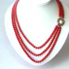 Natural coral and mabe shell clasp necklace
