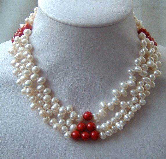 3 strands white freshwater pearls & coral necklace