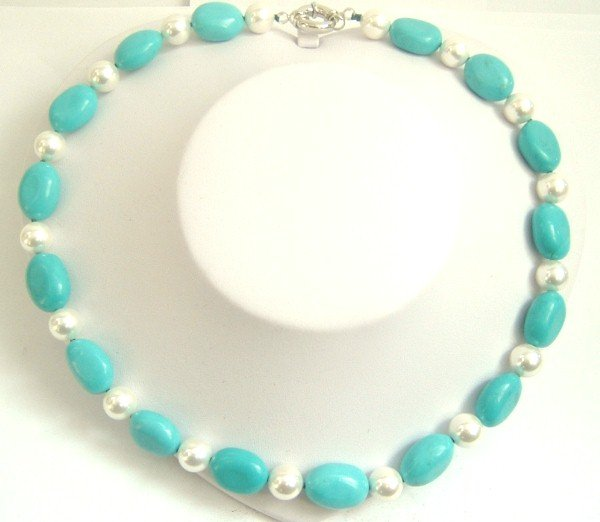sky-blue natural turquoise beads & shell pearl necklace