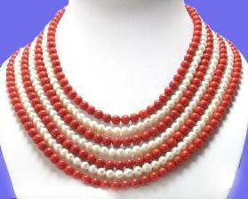 7 strand white pearl and red coral necklace