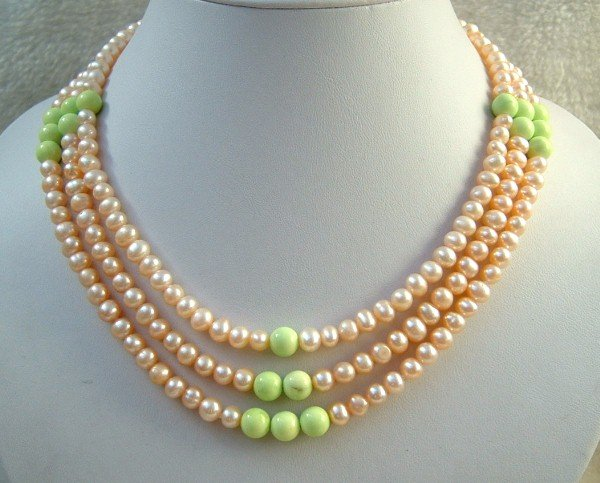 3 strand Real pink freshwater pearl & turquoise necklace