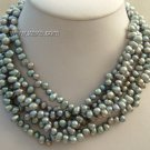 "6 Strands 17"""" black pearl necklace"