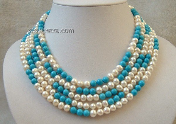 5 strand white freshwater pearls and turquoise necklace
