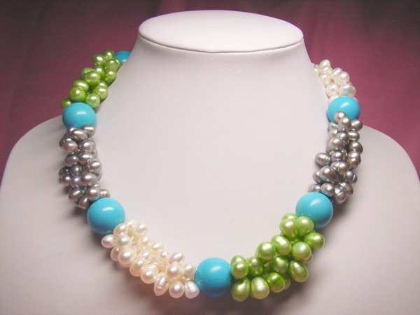 18'' Freshwater Pearl & Turquoise bead Necklace