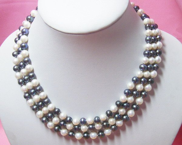 3 strands 7-8mm Black White Freshwater pearl Necklace